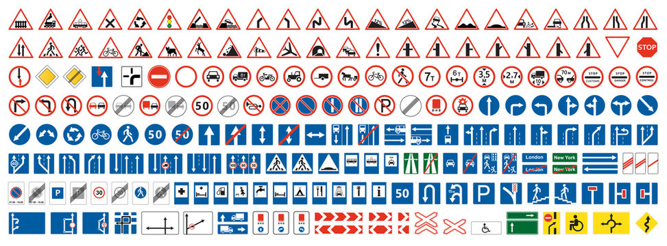 Highway warning, priority, prohibitory signs collection. Set of more than two hundred road signs.