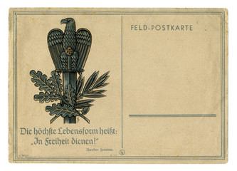 German historical postal card: An eagle perched on a sword. Quote writer: The highest form of life is to serve to freedom! Theodor Fontane. Germany