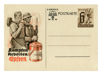 "German historical postal card: Worker with a hammer and a soldier with a rifle. ""Winter Relief"" fund. Fight, work, sacrifice, issue 1940, Germany, world war two, Third Reich"