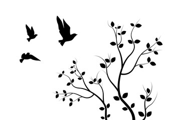 Flying Birds On Branch, Wall Decals, Art Design, Wall Design, Flying Birds on Tree Illustration. Isolated on white background