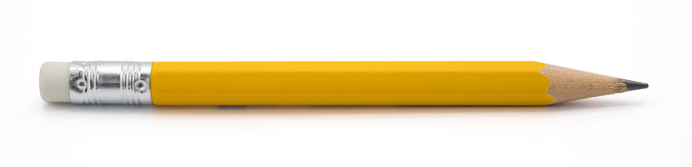 yellow pencil isoalted on white background with clipping path. Wall mural