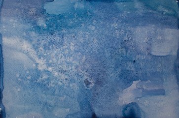 Blue handmade watercolor background, abstract composition