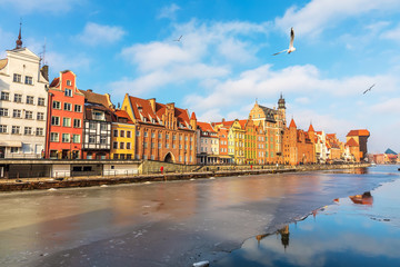 Colorful buildings of Gdansk on the bank of the Motlawa, Poland