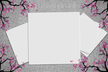 Relief board with photo and place for inscription. Cherry blossoms twigs. Spring frame. Inspiration board. Mockup with blooming trees