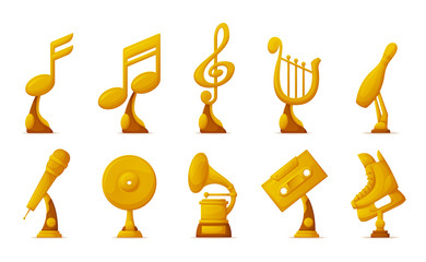 Music and sport awards vector, isolated icons of cassette and notes set. Microphone and harp instrument, musical contest and skiing boot gold prize