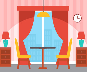 Interior of room, table with chairs, nightstand with lamps, panoramic window with curtains, wallpaper in stripes, hanging clock and illuminator vector