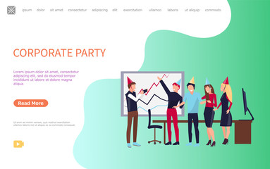 Corporate party, vector online poster, workers in office having fun together. Coworkers web page template with business people celebrating holidays together. Website template landing page in flat