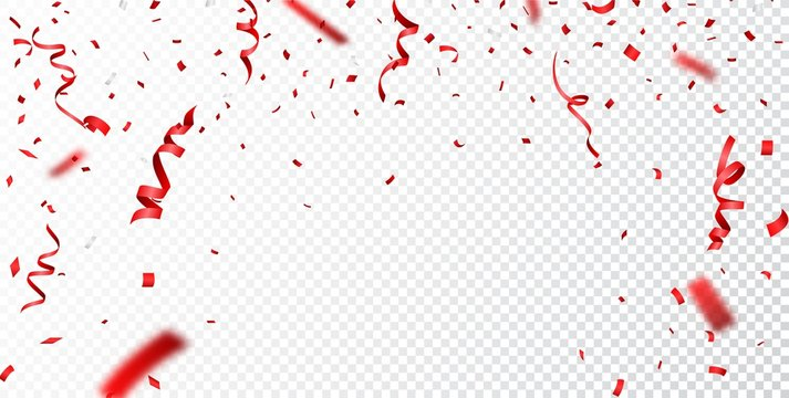 Red confetti , isolated on transparent background