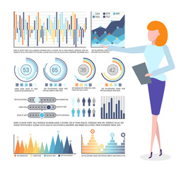 Statistical data and infographics, business graphics vector. Chart and diagram, flowchart and population statistics, businesswoman holding notepad