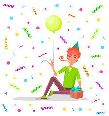 Man sitting on floor with party horn in mouth, in festive hat vector on backdrop of tassels and confetti. Male with balloon and gift box celebrate birthday