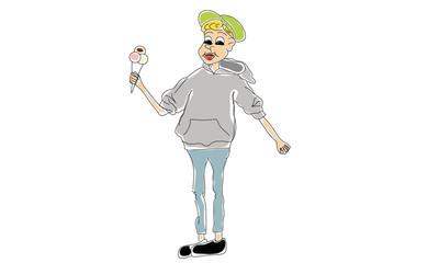 Junge mit Eistüte in modernem Comic Stil