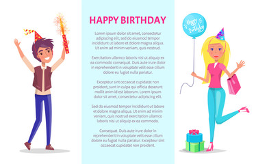 Happy birthday poster, invitation card, man with firework and woman with balloon and presents, text sample. Vector cartoon characters celebrating Bday party