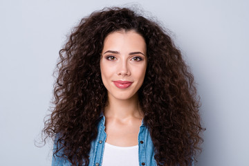 Close up photo of amazing attractive smiling gladly modern her she lady with long wave wealth of hair wearing casual jeans denim shirt clothes outfit isolated on grey background