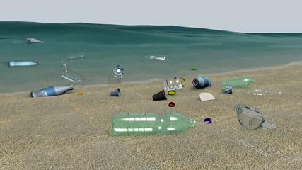 Inquinamento ambientale da Plastica, illustrazione 3D