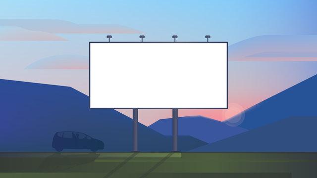 Blank advertising billboard canvas mockup on backdrop landscape