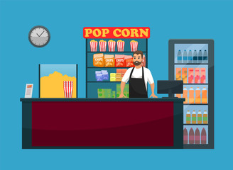 Movies snack bar, popcorn and drinks, bartender and counter vector. Chips and juice or soda, striped packs, cinema hall interior element, man in apron
