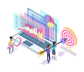 People working on website promotion vector. Digital marketing implemented by workers, target and workers aiming in bullseye, searching of data info
