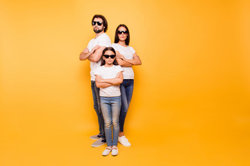 Full length body size view portrait of nice-looking content attractive minded serious people company team wearing dark glasses isolated over shine vivid pastel yellow background