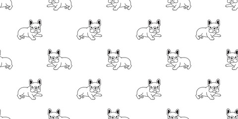 Dog seamless pattern french bulldog vector scarf isolated puppy cartoon illustration tile background repeat wallpaper doodle white