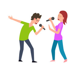 Musical performance, singers man and woman singing vector. Isolated people performing concert, music entertainment, male and female with microphone