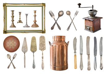 Set of 22 gorgeous old vintage items. Old vintage cutlery, spoons, forks, knives, dairy copper cans, plate, coffee grinder, candlesticks, cake shovels. Isolated on white background.