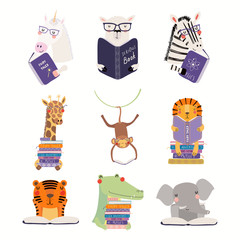Foto op Plexiglas Illustraties Big set with cute animals reading different books. Isolated objects on white background. Hand drawn vector illustration. Scandinavian style flat design. Concept for children print, learning.