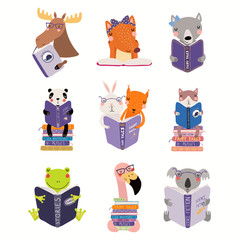 Poster Illustrations Big set with cute animals reading different books. Isolated objects on white background. Hand drawn vector illustration. Scandinavian style flat design. Concept for children print, learning.