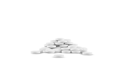 Different pharmaceutical medicine pills, tablets and capsules on white background. Health care concept. 3D render illustration.