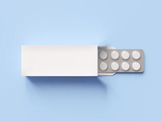 Package blister with round medicines pills on blue background. Mock up template. 3d render illustration