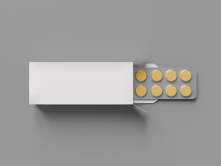 Package blister with round medicines pills on gray background. Mock up template. 3d render illustration