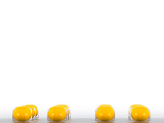 Pills blister with yellow round tablets on white background. Health care concept. Space for text. 3D render illustration.