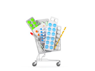 Different blisters with capsules, tablets and medicine in shop trolley on a white background. Medicine shoping concept. Copy space. 3D render illustration.