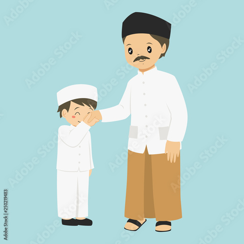 young boy kissing his father's hand, vector illustration  a way to