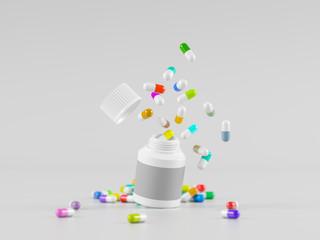 Scattered parmaceutical medicine pill tablets spilling out of white bottle on light gray background. Mock up template. Health care concept. 3d render illustration
