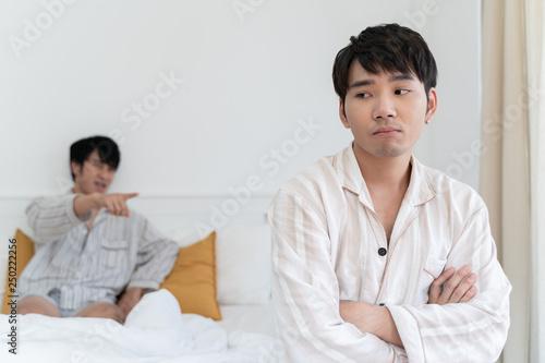 Gay couple make looove in bedroom