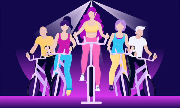 Faceless group of people on exercycles in spinning class. Colorful vector horizontal illustration for web and printing.