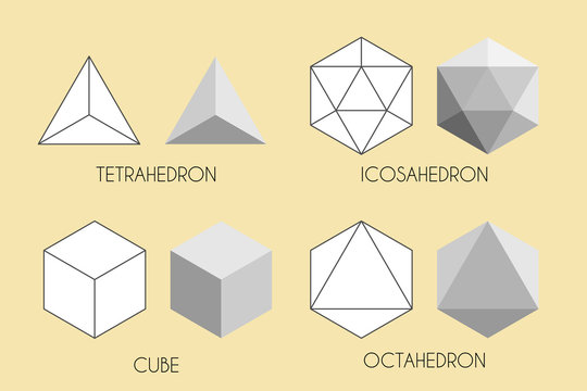 Four Platonic solids. Sacred geometry vector illustration.