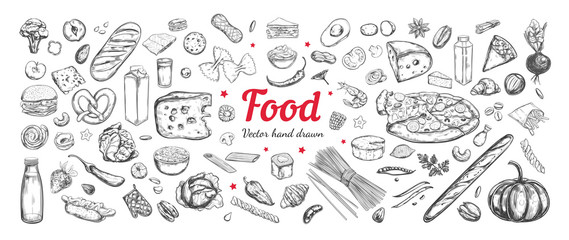 Fototapeta Big vector set of healthy food ingredients. Hand drawn sketches. Isolated objects