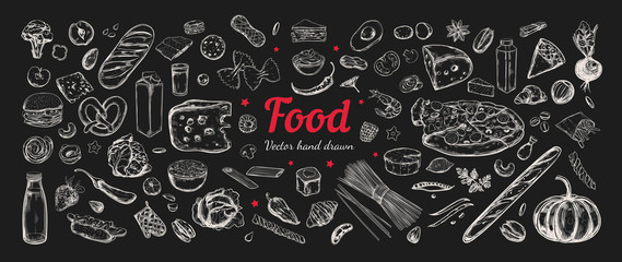 Obraz Big vector set of healthy food ingredients. Hand drawn sketches. Isolated objects - fototapety do salonu
