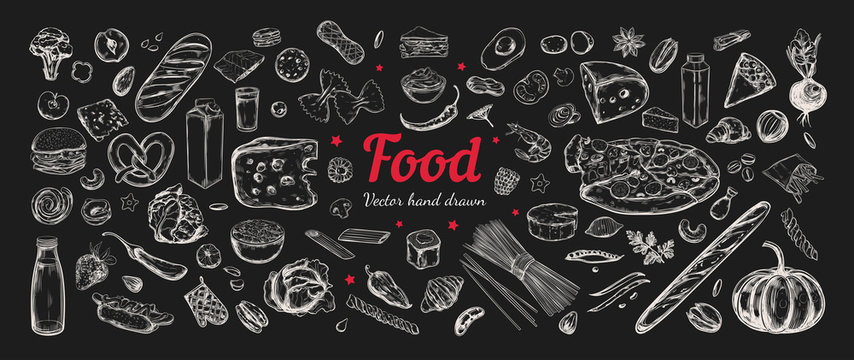 Big vector set of healthy food ingredients. Hand drawn sketches. Isolated objects