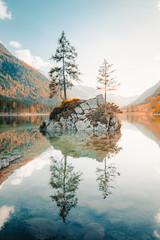 Fototapete - Lake Hintersee at sunset, Bavaria, Germany