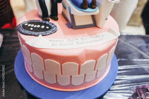 Delicious Cake Funny With Dentist And His Client On The Top