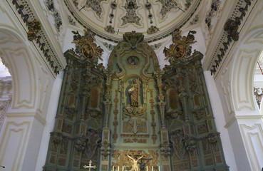 high altar retable green wood