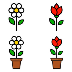 cartoon tulip and tulip in a pot and cute chamomile set