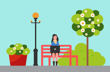 City park, woman on bench near streetlight and flowerbed or tree vector. Girl working outdoor with portable computer, spring blossom and foliage, greenery