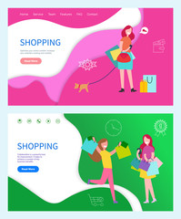 Shopping green and pink background illustration. Plans about buying new things. Smiling and running women with colored packages and lady with dog vector. Website, webpage template landing page in flat
