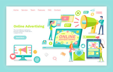 Online advertising vector, pages with information. Website or webpage template, landing page flat style, computer monitor. People with megaphone broadcast