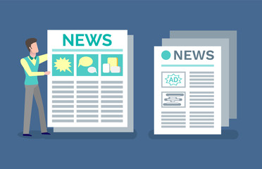 Printed publication with announcements and news vector. Man reading advertising and ads in newspaper, article with headline, paper with info  columns