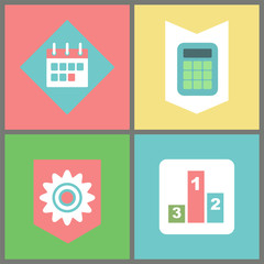 Business and work items vector, calendar and calculator, cogwheel symbol and tournament pedestal. Organizer and measurement device, success achievement