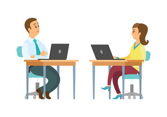 People working on laptops in office vector, workers support. Woman and man using computers to communicate with clients, programmers couple freelance